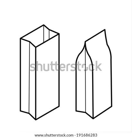 paper bag vector - stock vector