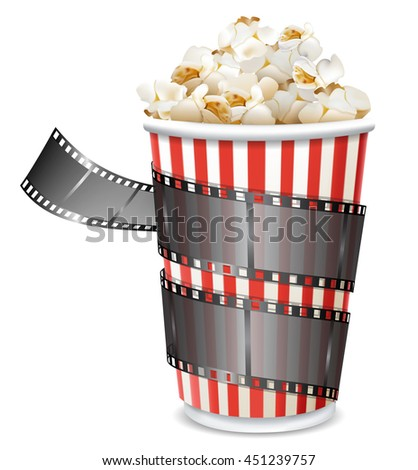paper bag with popcorn and movie reel vector illustration isolated on white background - stock vector