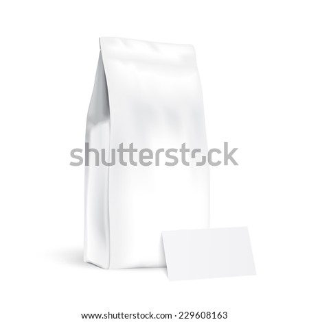 Paper bags with business card - stock vector