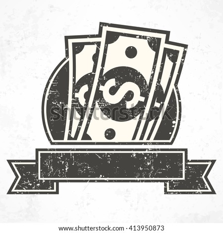 Paper bank notes. Money signs in grey. Icon for business, business symbol, money sign, dollar cash. Vector illustration - stock vector