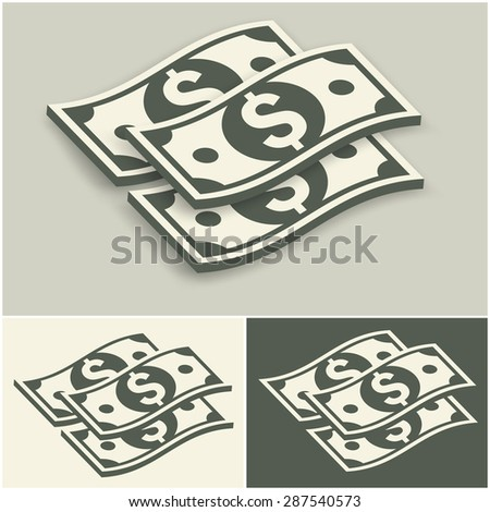 Paper bank notes set, money signs on grey, vector illustration - stock vector