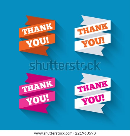 Paper banners or ribbons. Thank you symbols with long shadow. Vector - stock vector