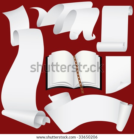 Paper banners, scrolls and book set (vector, CMYK) - stock vector