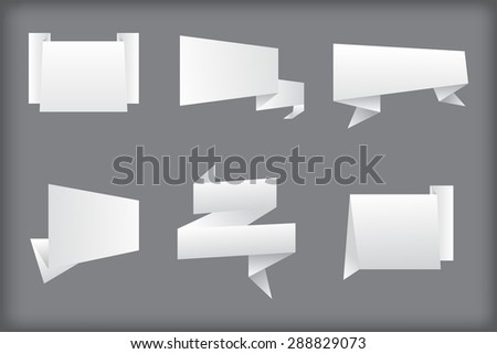 Paper banners set.Origami banners.Vector illustration. - stock vector