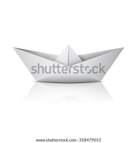 Paper boat - stock vector