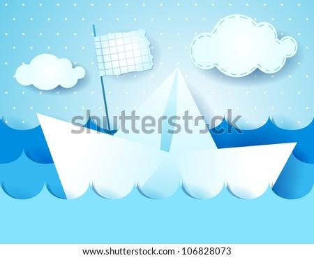 Paper boat, vector illustration - stock vector