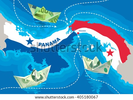Paper boats from dollars and euros are floating in the Panama Canal. The concept of offshore companies in Panama. Money are sent to a safe harbor. - stock vector