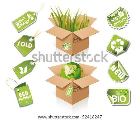 Paper box - eco idea with stickers and tags - stock vector
