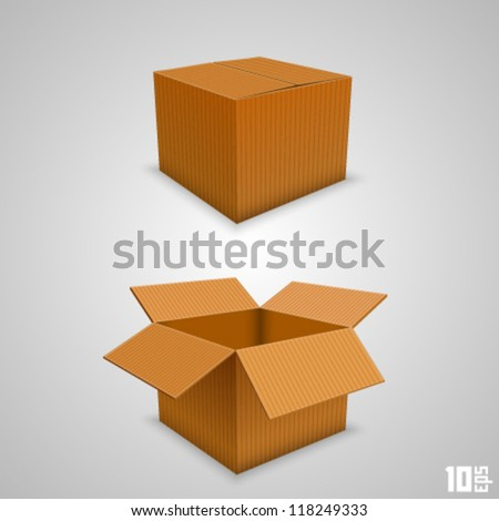 paper box open and closed - stock vector