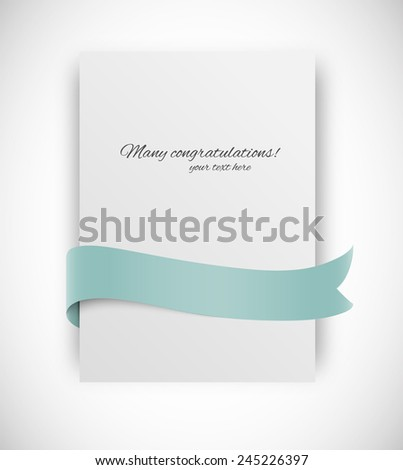 Paper card with ribbon tape in turquoise color - stock vector