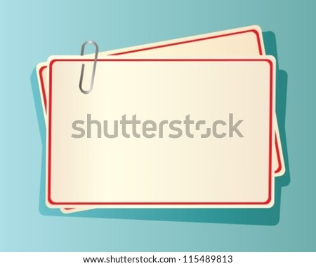 paper cards with red edging, fastened together with a staple in blue background - stock vector
