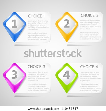 Paper choice pointers - stock vector