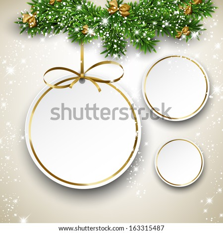 Paper christmas balls with golden ribbon. Round labels over starry background with fir branches. Vector illustration.  - stock vector
