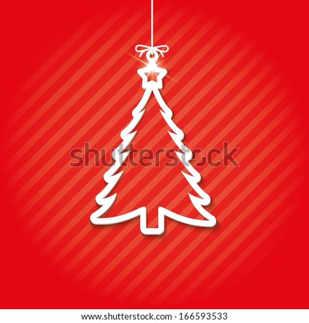 paper christmas tree on red background. vector. eps10 - stock vector