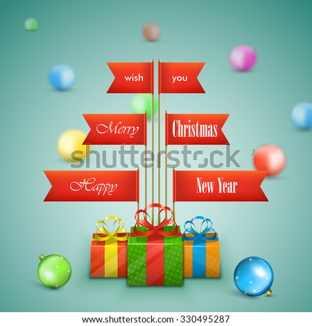 Paper Christmas tree vector illustration. Christmas tree made of paper flags with Merry Christmas greeting decorated gifts and balls. - stock vector