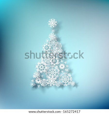 Paper christmass tree on blue background. EPS 10 vector - stock vector