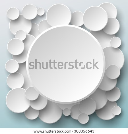 Paper circle banners with drop shadow on blue background - stock vector