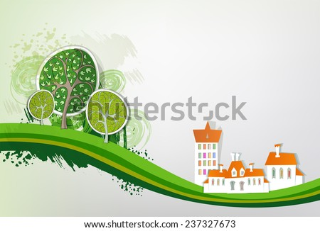 Paper city background with trees - stock vector