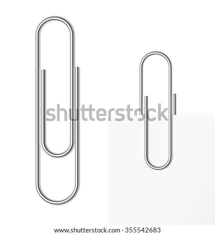 Paper clip on white background. Vector illustration. - stock vector