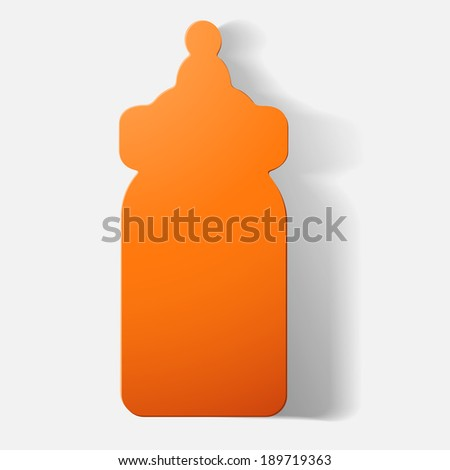 Paper clipped sticker: baby bottle. Isolated illustration icon - stock vector