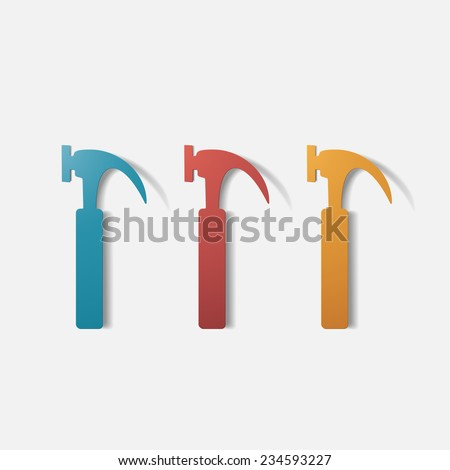 Paper clipped sticker: construction hammer. Isolated illustration icon - stock vector