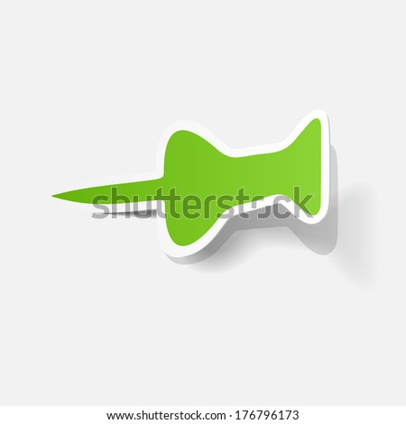 Paper clipped sticker: Pushpin. Isolated illustration icon - stock vector
