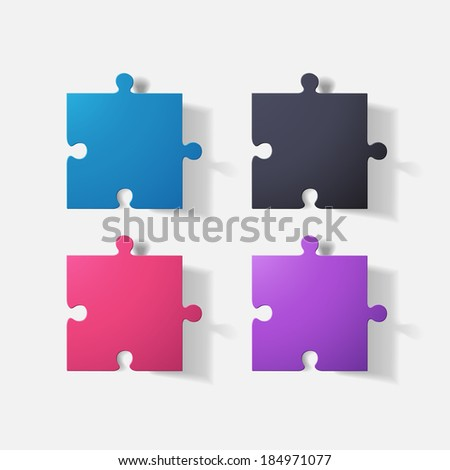 Paper clipped sticker: puzzle.  - stock vector