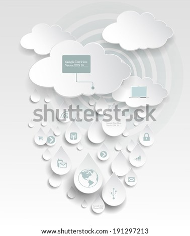 Paper cloud computing with icon in rain drops - stock vector