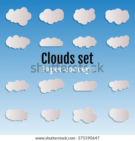 Paper clouds Icon Vector. Origami clouds Icon JPEG. Clouds Icon Object. Clouds Icon Picture. Clouds Icon Graphic. Clouds Icon Art. Clouds Icon JPG. Clouds Icon EPS.  Clouds Icon Drawing - stock vector - stock vector
