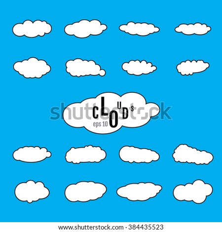 Paper clouds. White clouds. Clouds Icon Vector. Clouds Icon JPEG, JPG. Clouds Icon Object. Clouds Icon EPS. - stock vector