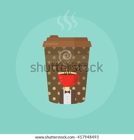 Paper Coffee cup concept vector illustration isolated. Paper Coffee cup concept, Paper Coffee cup illustration, Paper Coffee cup image, Paper Coffee cup isolated, Paper Coffee cup logo - stock vector