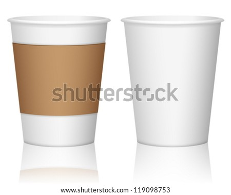 Paper coffee cup set on a white background. - stock vector