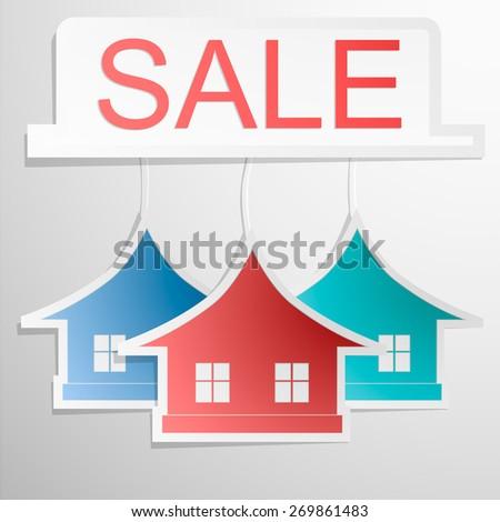Paper colrfull home design - house card. Sale banner. Vector eps 10 - stock vector