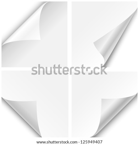 Paper Corner Folds - Set of four paper corner folds isolated on white background. - stock vector