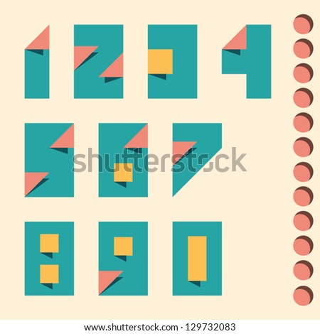 Paper crafting numbers set. Vector. - stock vector