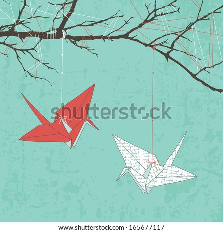 Paper Cranes - stock vector