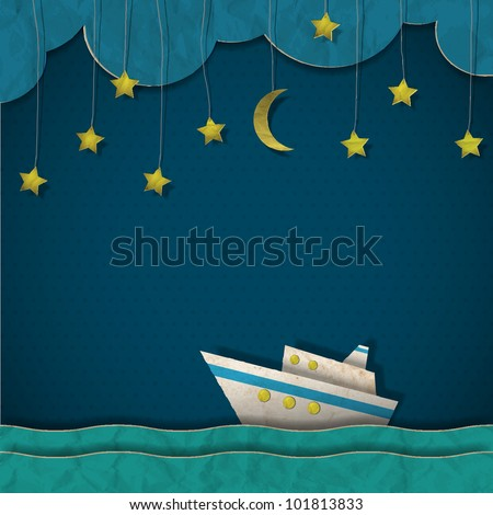 Paper cruise liner at night. Creative vector eps 10 - stock vector