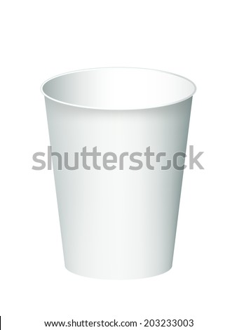 Paper cup isolated on a white - stock vector