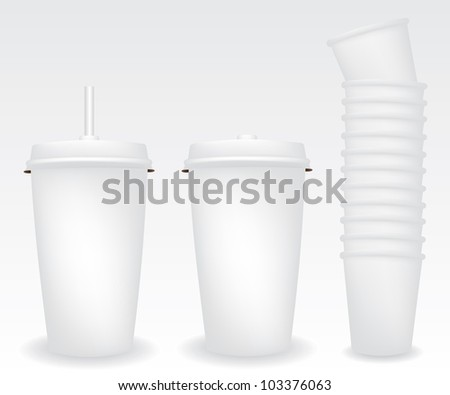 Paper cups illustration - stock vector