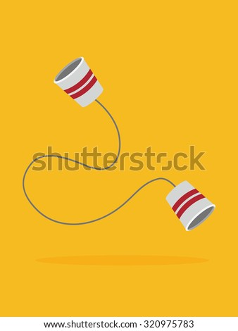 paper cups phone.Vector illustration. - stock vector