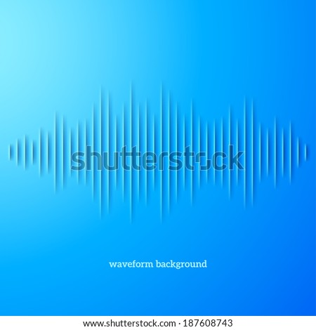 Paper cut blue sound waveform sign with shadow - stock vector