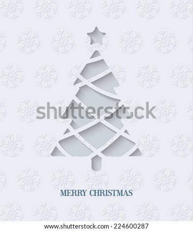 Paper cut Christmas tree. Vector Illustration. - stock vector