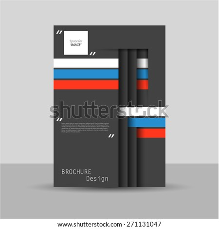 Paper cut dark brochure / flyer design, eps10 Vector. - stock vector