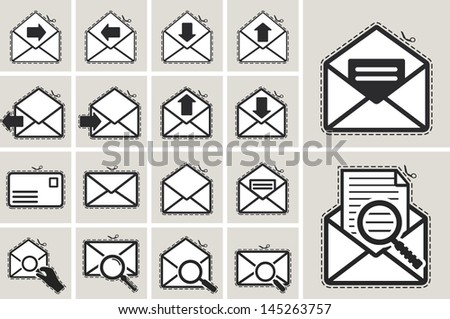 paper cut envelope sticker icon set - stock vector