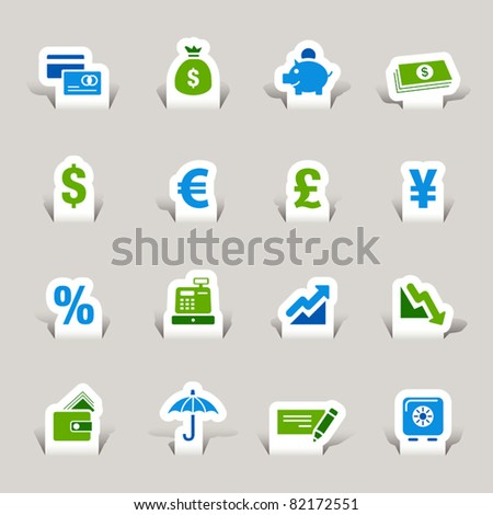 Paper cut - Finance icons - stock vector