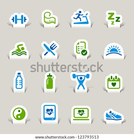Paper Cut - Health and Fitness icons set - stock vector