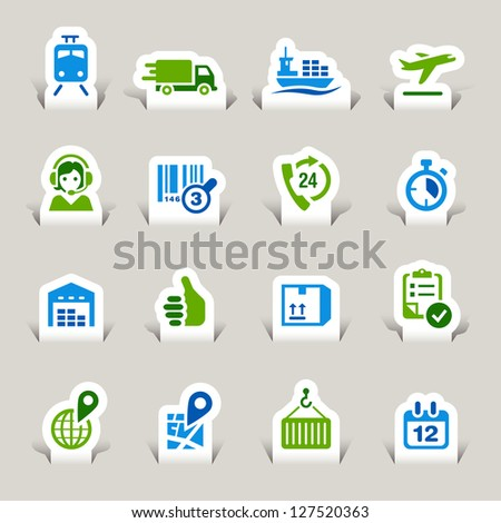 Paper Cut - Logistic and Shipping icons - stock vector