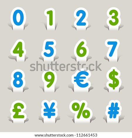 Paper Cut - Numbers - stock vector