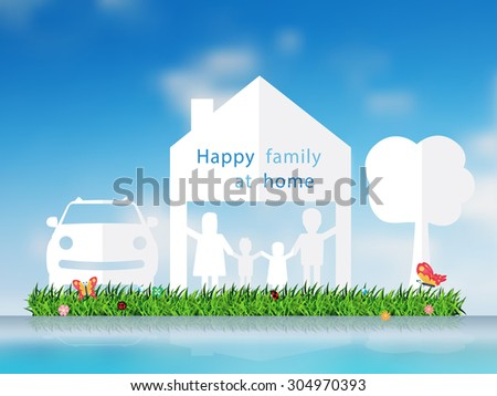 Paper cut of happy family with home and grass field, car, tree, Vector illustration template design - stock vector