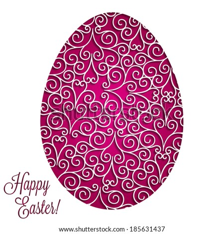 Paper cut out Easter egg card in vector format. - stock vector
